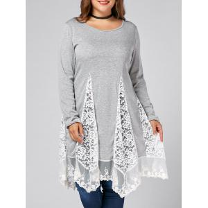 Plus Size Lace Trim  Swing Long Sleeve T-shirts - Gray - 5xl