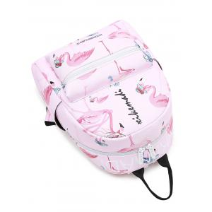 Flamingo Print Faux Leather Backpack -