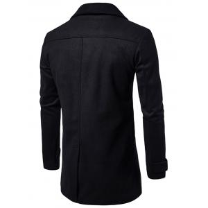 Double Breasted Wool Blend Coat - BLACK M