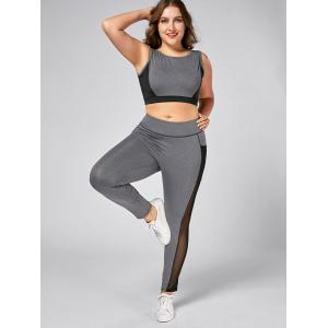 Plus Size Wirefree Yoga Bra and Mesh Panel Leggings - GRAY XL