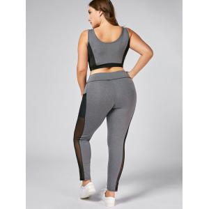 Plus Size Wirefree Yoga Bra and Mesh Panel Leggings - GRAY 5XL
