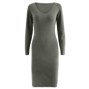 Midi Jumper V Neck Sheath Dress -
