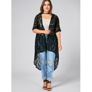 Black 4xl Plus Size Long Open Front Lace Crochet Cardigan ...