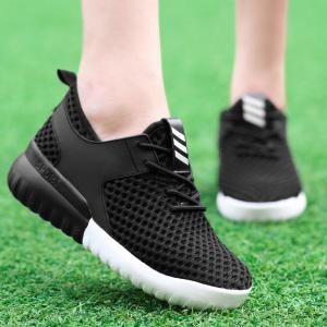 Breathable Mesh Faux Leather Insert Athletic Shoes -