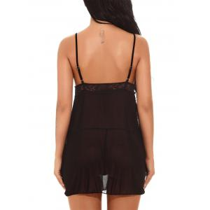 Applique Mesh See-through Babydoll -