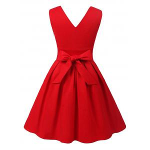 Cut Out V Neck Vintage Pin Up Dress -