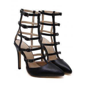 Buckle Straps Pointed Toe Pumps -