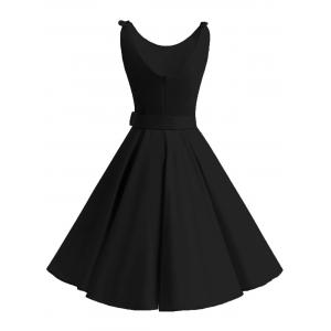 Vintage Bowknot Cut Out Skater Party Dress -