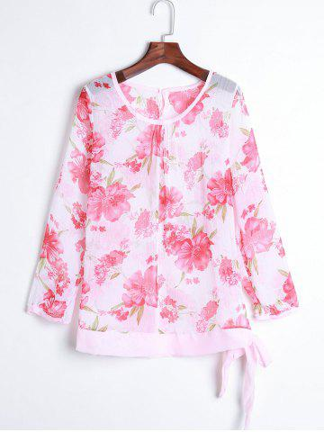 Women s Floral Print Pattern Chiffon Casual Puff Long Sleeve Tops Blouses Shirt