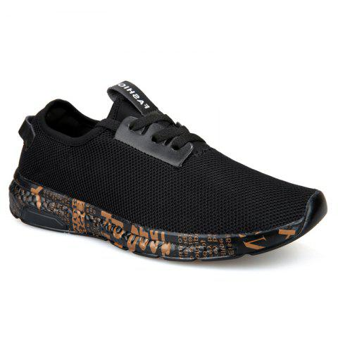 Letter Print Sole Mesh Athletic Shoes - Black Gold - 40