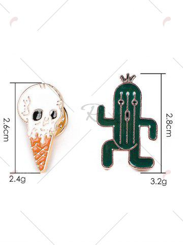Fancy Brooch Set with Skull Ice Cream Cactus - GREEN  Mobile