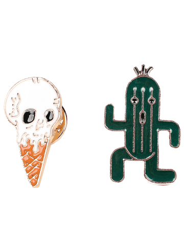 Hot Brooch Set with Skull Ice Cream Cactus