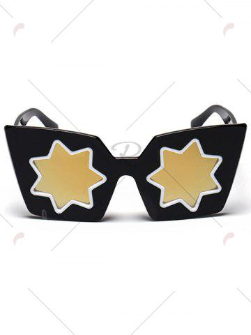 Fancy Mirrored Reflective Geometric Star Frame Sunglasses - GOLDEN  Mobile