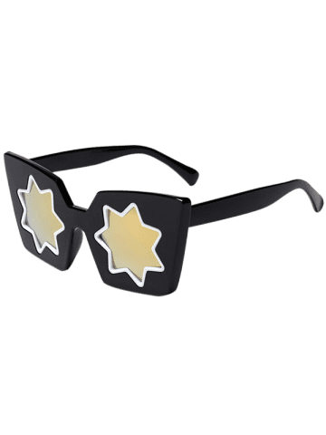 Shop Mirrored Reflective Geometric Star Frame Sunglasses - GOLDEN  Mobile