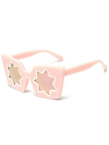 Outfits Mirrored Reflective Geometric Star Frame Sunglasses PINK