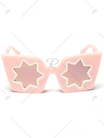 Fancy Mirrored Reflective Geometric Star Frame Sunglasses - PINK  Mobile