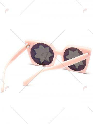 Store Mirrored Reflective Geometric Star Frame Sunglasses - PINK  Mobile
