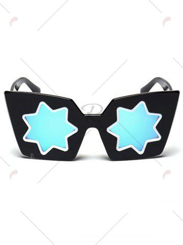 Store Mirrored Reflective Geometric Star Frame Sunglasses - BLUE  Mobile