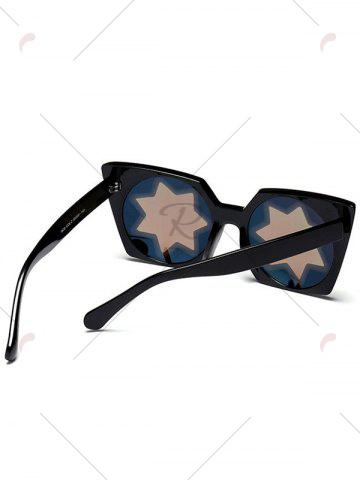 Shop Mirrored Reflective Geometric Star Frame Sunglasses - BLUE  Mobile