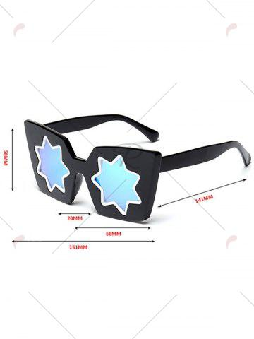Hot Mirrored Reflective Geometric Star Frame Sunglasses - BLUE  Mobile