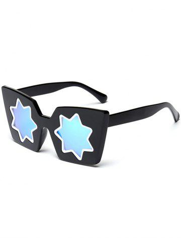Fancy Mirrored Reflective Geometric Star Frame Sunglasses - BLUE  Mobile