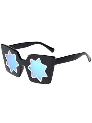 Best Mirrored Reflective Geometric Star Frame Sunglasses - BLUE  Mobile