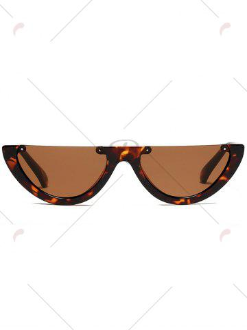 Fashion Street Snap Semilunar Semi-Rimless Sunglasses - BLACK LEOPARD PRINT  Mobile