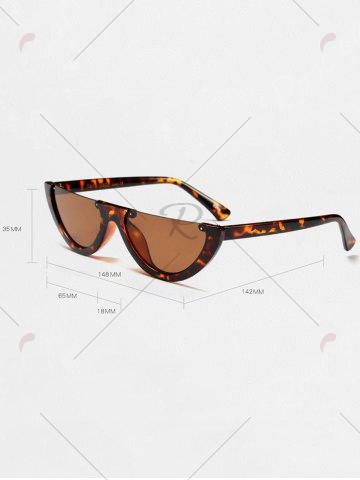 Outfits Street Snap Semilunar Semi-Rimless Sunglasses - BLACK LEOPARD PRINT  Mobile