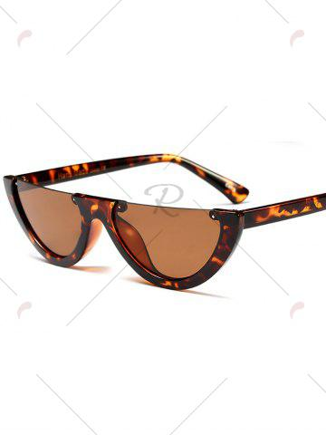 Shops Street Snap Semilunar Semi-Rimless Sunglasses - BLACK LEOPARD PRINT  Mobile