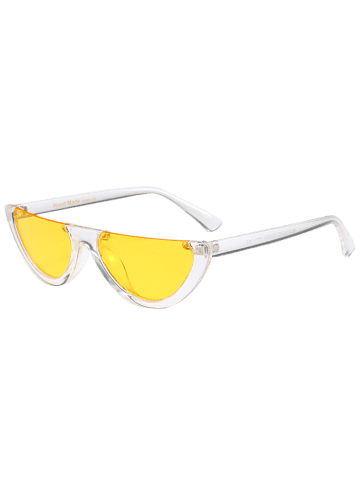 Outfits Street Snap Semilunar Semi-Rimless Sunglasses - YELLOW  Mobile