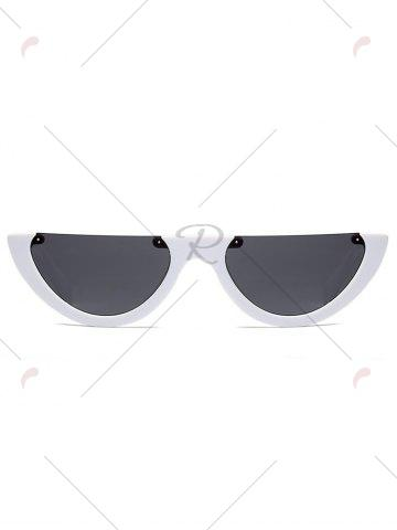 Trendy Street Snap Semilunar Semi-Rimless Sunglasses - WHITE  Mobile