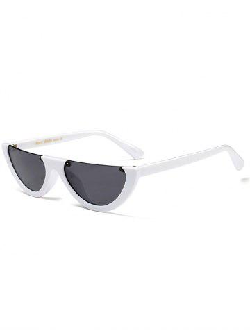 New Street Snap Semilunar Semi-Rimless Sunglasses - WHITE  Mobile