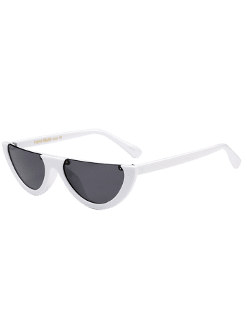 Fashion Street Snap Semilunar Semi-Rimless Sunglasses - WHITE  Mobile