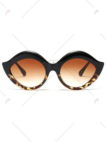 Best Street Snap Lip Shape Anti UV Sunglasses - BLACK LEOPARD PRINT  Mobile