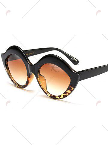 Cheap Street Snap Lip Shape Anti UV Sunglasses - BLACK LEOPARD PRINT  Mobile