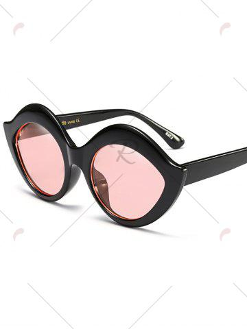 Best Street Snap Lip Shape Anti UV Sunglasses - PINK  Mobile