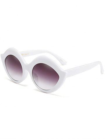 Trendy Street Snap Lip Shape Anti UV Sunglasses - WHITE  Mobile