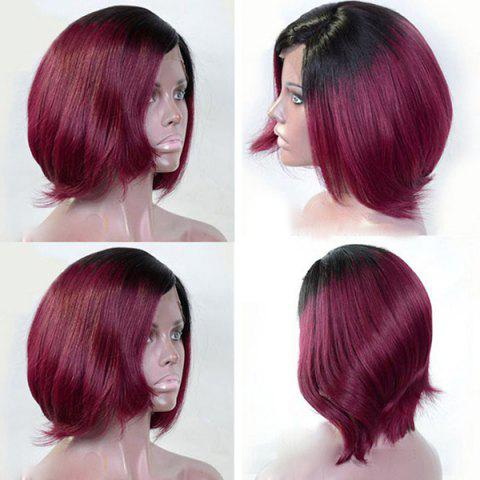 Hot Short Inclined Bang Two Tone Straight Bob Synthetic Wig - BLACK AND RED  Mobile