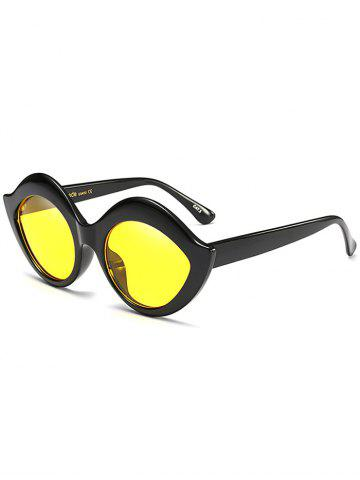 Outfit Street Snap Lip Shape Anti UV Sunglasses YELLOW