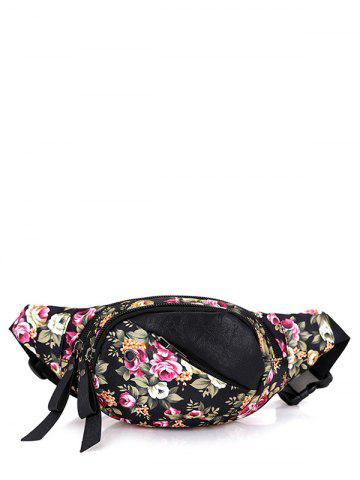 Nylon Floral Printed Waist Bag - Black And Rose Red - 40