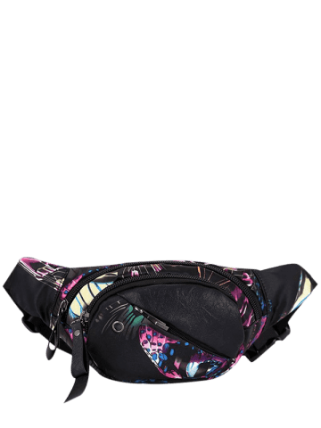 Cheap Nylon Floral Printed Waist Bag - BLACK PURPLE  Mobile