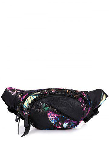 Hot Nylon Floral Printed Waist Bag - BLACK PURPLE  Mobile