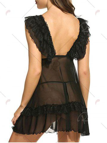 Store Plunging Neck See Through Swing Babydoll - S BLACK Mobile