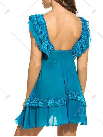 Affordable Plunging Neck See Through Swing Babydoll - 2XL BLUE Mobile