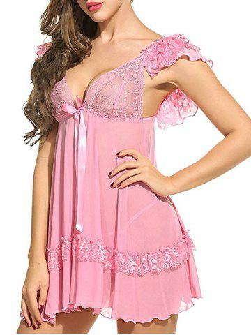 Sale Plunging Neck See Through Swing Babydoll - 2XL PINK Mobile