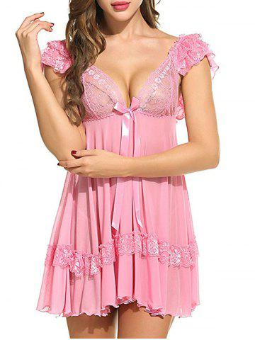 Shops Plunging Neck See Through Swing Babydoll - 2XL PINK Mobile