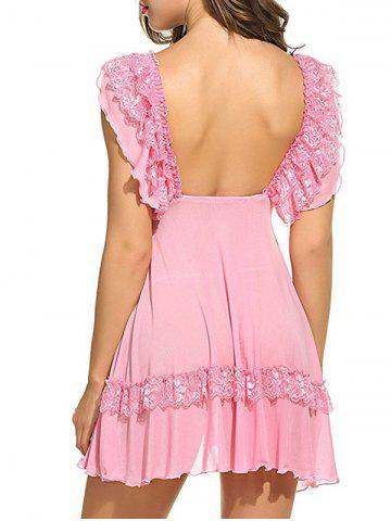 Chic Plunging Neck See Through Swing Babydoll - 2XL PINK Mobile