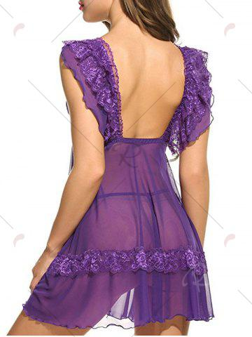Shops Plunging Neck See Through Swing Babydoll - 2XL PURPLE Mobile