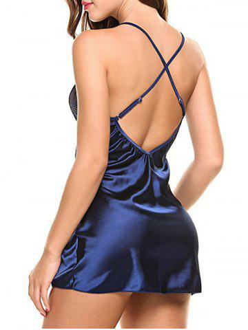 Store Cross Back Cami Satin Mini Babydoll - 2XL ROYAL BLUE Mobile