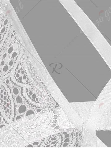 Online Crossed Strappy Lace Bralette - S WHITE Mobile